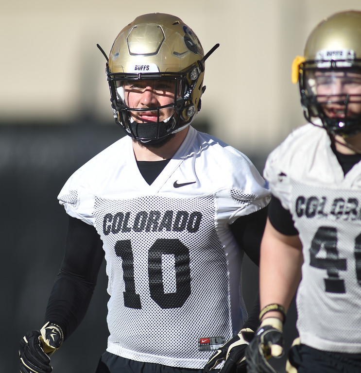 . Defefensive end, Dante Sparaco, during the first day of Spring football at the University of Colorado. For more photos, go to www.buffzone.com. Cliff Grassmick  Staff Photographer  February 22, 2017