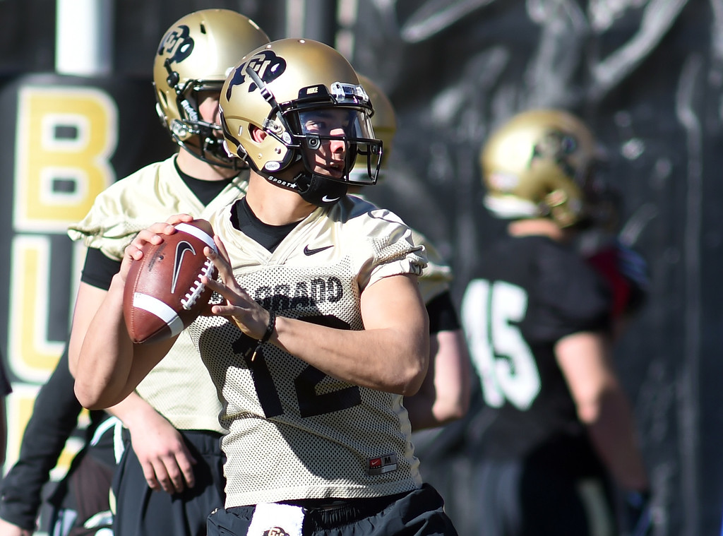 . Steven Montez goes through QB drills during the first day of Spring football at the University of Colorado. For more photos, go to www.buffzone.com. Cliff Grassmick  Staff Photographer  February 22, 2017