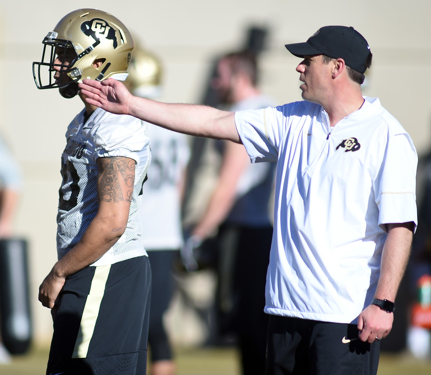 . D.J. Eliot works with the defense during the first day of Spring football at the University of Colorado. For more photos, go to www.buffzone.com. Cliff Grassmick  Staff Photographer  February 22, 2017
