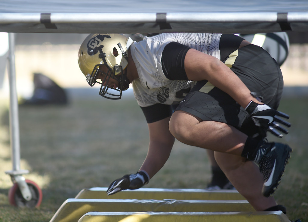 . Lyle Tuiloma goes through D-line drills during the first day of Spring football at the University of Colorado. For more photos, go to www.buffzone.com. Cliff Grassmick  Staff Photographer  February 22, 2017