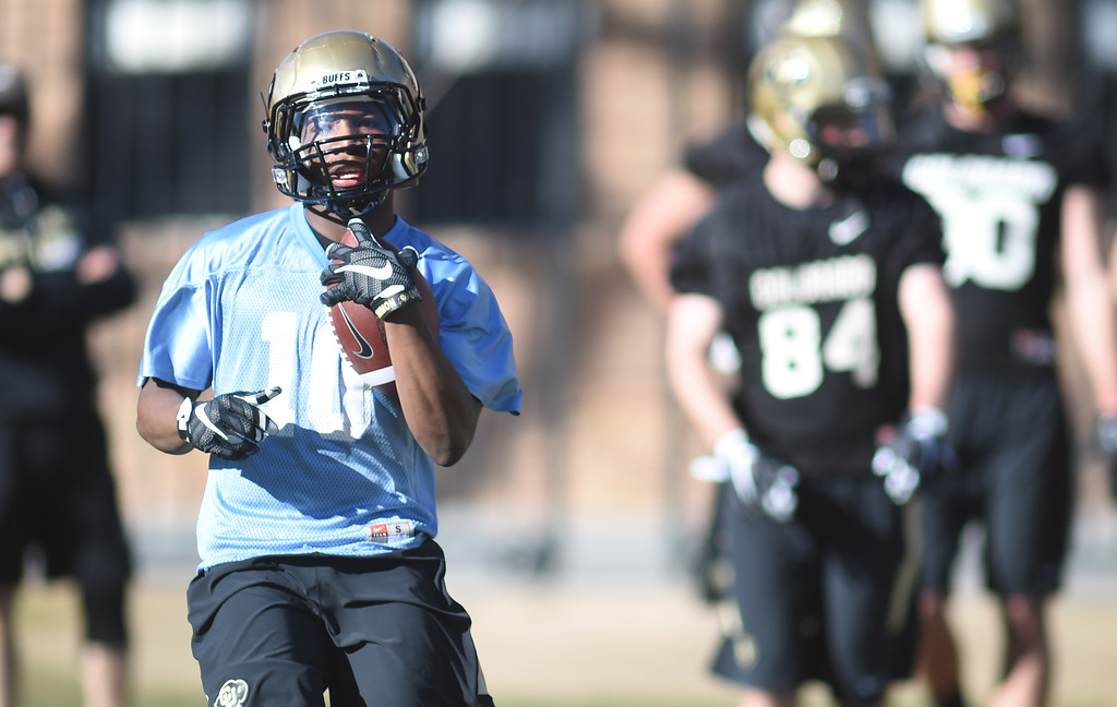 . Jaylon Jackson works on pass catching drills during the first day of Spring football at the University of Colorado. For more photos, go to www.buffzone.com. Cliff Grassmick  Staff Photographer  February 22, 2017