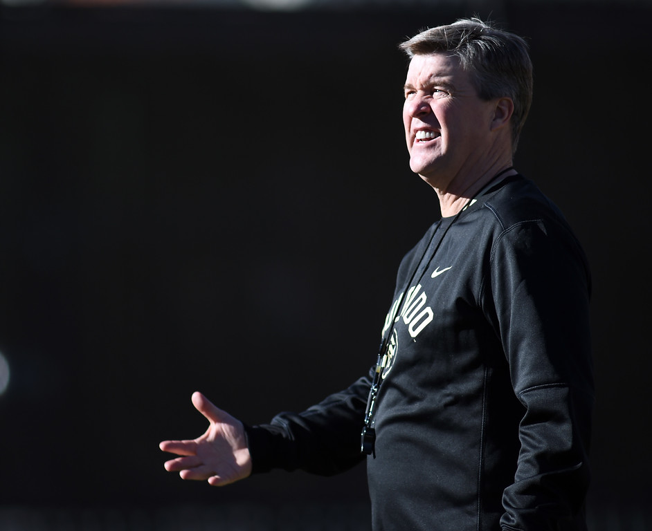 . Colorado Buffalo head football coach, Mike MacIntyre, during the first day of Spring football at the University of Colorado. For more photos, go to www.buffzone.com. Cliff Grassmick  Staff Photographer  February 22, 2017