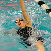 Broomfield High School junior Katalena Laufasa-Duncan rips through the water while racing in the 100 Yard Backstroke on Saturday, Dec. 18, during the Colorado Coaches Invite at Mountain View High School in Loveland. Laufasa-Duncan finished in 5th place with a time of 59.17.<br /> Jeremy Papasso/Camera