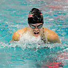 Fairview junior Kourtne Fosse gasps for air while racing in the 100 Yard Breaststroke on Saturday, Dec. 18, during the Colorado Coaches Invite at Mountain View High School in Loveland. Fosse finished in 1st place.<br /> Jeremy Papasso/Camera