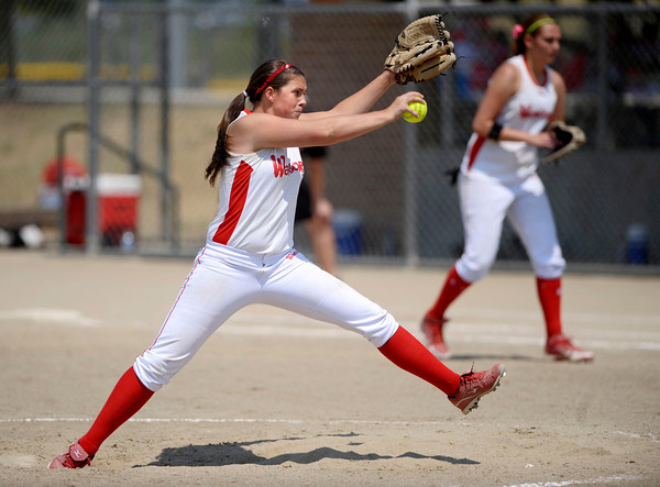 Colorado Lady Warriors Pitcher, Nicole Hull throws the ball at the Louisville Sports Complex Friday afternoon. The Colorado Lady Warriors lost to the Kansas Peppers 9-8. Rachel Woolf/ For the Daily Camera
