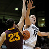 Colorado's Shane Harris-Tunks (right) gets the ball knocked from his hands by Arizona State's Ruslan Pateev (left) during their basketball game at the University of Colorado in Boulder, Colorado January 19, 2012. CAMERA/MARK LEFFINGWELL