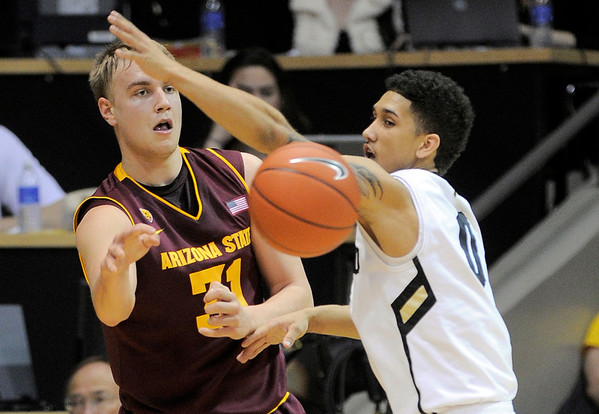 Arizona State's Jonathan Gilling (left) passes the ball away from Colorado's Askia Booker (right) during their basketball game at the University of Colorado in Boulder, Colorado January 19, 2012. CAMERA/MARK LEFFINGWELL