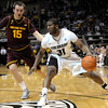 Colorado's Jeremy Adams (right) looks past Arizona State's Chanse Creekmur (left) during their basketball game at the University of Colorado in Boulder, Colorado January 19, 2012. CAMERA/MARK LEFFINGWELL