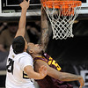 Colorado's Andre Roberson (left) blocks Arizona State's Kyle Cain (right) during their basketball game at the University of Colorado in Boulder, Colorado January 19, 2012. CAMERA/MARK LEFFINGWELL