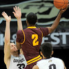 Colorado's Austin Dufault (left) is fouled by Arizona State's Chris Colvin (right) during their basketball game at the University of Colorado in Boulder, Colorado January 19, 2012. CAMERA/MARK LEFFINGWELL