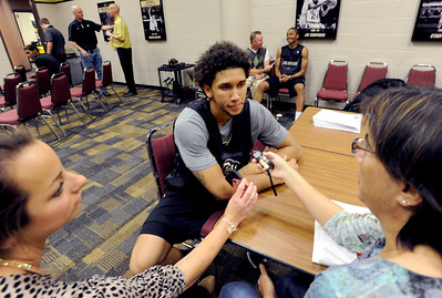 University of Colorado player, Askia Booker talks to reporters,  during media day  on October 18, 2012. For more photos and videos of media day, go to www.dailycamera.com. Cliff Grassmick / October 18, 2012