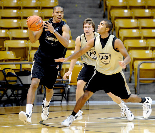 "University of Colorado player, Spencer Dinwiddie moves on Xavier Talton,  during media day practice on October 18, 2012.<br /> For more photos and videos of media day, go to  <a href=""http://www.dailycamera.com"">http://www.dailycamera.com</a>.<br /> Cliff Grassmick / October 18, 2012"