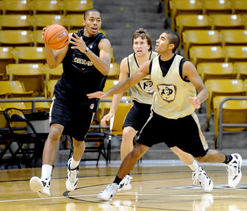 University of Colorado player, Spencer Dinwiddie moves on Xavier Talton,  during media day practice on October 18, 2012. For more photos and videos of media day, go to www.dailycamera.com. Cliff Grassmick / October 18, 2012