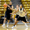 """University of Colorado player, Spencer Dinwiddie moves on Xavier Talton,  during media day practice on October 18, 2012.<br /> For more photos and videos of media day, go to  <a href=""""http://www.dailycamera.com"""">http://www.dailycamera.com</a>.<br /> Cliff Grassmick / October 18, 2012"""