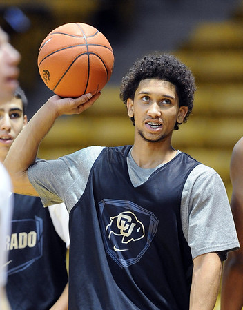 """University of Colorado player, Askia Booker,  during media day practice on October 18, 2012.<br /> For more photos and videos of media day, go to  <a href=""""http://www.dailycamera.com"""">http://www.dailycamera.com</a>.<br /> Cliff Grassmick / October 18, 2012"""
