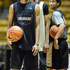 """University of Colorado players, Spencer Dinwiddie, left. Chris Jenkins and Askia Booker,  during media day practice on October 18, 2012.<br /> For more photos and videos of media day, go to  <a href=""""http://www.dailycamera.com"""">http://www.dailycamera.com</a>.<br /> Cliff Grassmick / October 18, 2012"""