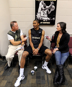 University of Colorado player, Spencer Dinwiddie, talks to reporters,  during media day  on October 18, 2012. For more photos and videos of media day, go to www.dailycamera.com. Cliff Grassmick / October 18, 2012
