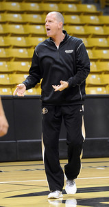 University of Colorado men's coach, Tad Boyle, during media day practice on October 18, 2012. For more photos and videos of media day, go to www.dailycamera.com. Cliff Grassmick / October 18, 2012