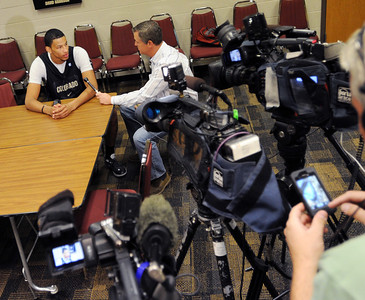 University of Colorado player, Andre Roberson, talks to reporters,  during media day  on October 18, 2012. For more photos and videos of media day, go to www.dailycamera.com. Cliff Grassmick / October 18, 2012