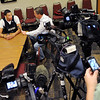 "University of Colorado player, Andre Roberson, talks to reporters,  during media day  on October 18, 2012.<br /> For more photos and videos of media day, go to  <a href=""http://www.dailycamera.com"">http://www.dailycamera.com</a>.<br /> Cliff Grassmick / October 18, 2012"