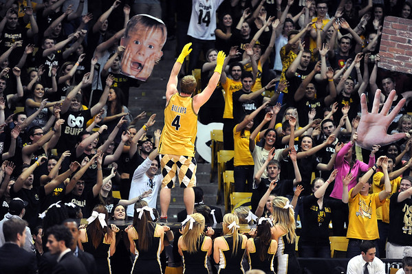 One of the CU student section rituals during the  half of the January 27th, 2013  Cal game in Boulder.<br /> Cliff Grassmick / January 27, 2013