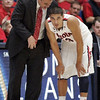 Arizona coach Sean Miller talks to Nick Johnson during the first half. (AP Photo/John Miller)