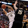 Colorado California Bas(2).JPG California's Brandon Smith, left, is defended by Colorado's Shane Harris-Tunks during the first half of an NCAA college basketball game in the semifinals of the Pac-12 conference championship in Los Angeles, Friday, March 9, 2012. (AP Photo/Jae C. Hong)