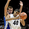 """Josh Scott of Colorado tries to muscle Taylor Broekhuis of Air Force during the first half of the game in Boulder, Colorado, on November 25, 2012.<br /> For more photos of the game, go to  <a href=""""http://www.dailycamera.com"""">http://www.dailycamera.com</a>.<br /> Cliff Grassmick / November 25, 2012"""