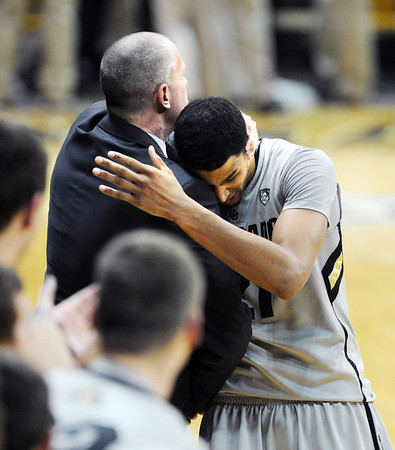 "CU coach Tad Boyle has a hug for Andre Roberson after the Arizona win.<br /> For more photos of the game, go to  <a href=""http://www.dailycamera.com"">http://www.dailycamera.com</a>.<br /> Cliff Grassmick / February 14, 2013"