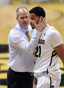 CU coach Tad Boyle has encouragement for Andre Roberson during the second half of the February 16th, 2013 game in Boulder. For more photos of the game, go to www.dailycamera.com. Cliff Grassmick / February 16, 2013