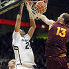 "Andre Roberson of Colorado dunks on Jordan Bachynski of Arizona State during the first half of the February 16th, 2013 game in Boulder.<br /> For more photos of the game, go to  <a href=""http://www.dailycamera.com"">http://www.dailycamera.com</a>.<br /> Cliff Grassmick / February 16, 2013"