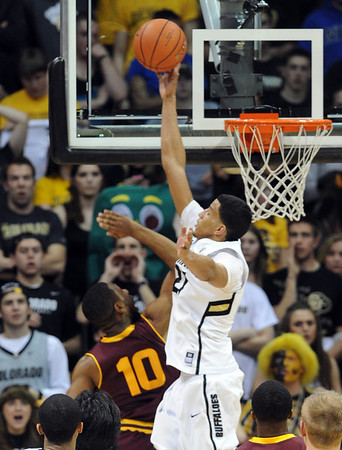"Andre Roberson of CU blocks the shot of Evan Gordon of ASU during the second half of the February 16th, 2013 game in Boulder.<br /> For more photos of the game, go to  <a href=""http://www.dailycamera.com"">http://www.dailycamera.com</a>.<br /> Cliff Grassmick / February 16, 2013"