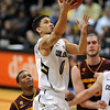 "Askia Booker of CU drives to the basket during the second half of the   February 16th, 2013  ASU game in Boulder.<br /> For more photos of the game, go to  <a href=""http://www.dailycamera.com"">http://www.dailycamera.com</a>.<br /> Cliff Grassmick / February 16, 2013"