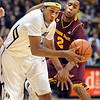 "Xavier Johnson of CU drives past Chris Colvin of ASU during the first half of the February 16th, 2013 game in Boulder.<br /> For more photos of the game, go to  <a href=""http://www.dailycamera.com"">http://www.dailycamera.com</a>.<br /> Cliff Grassmick / February 16, 2013"