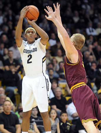 "Xavier Johnson of CU fire up a three against Arizona State during the first half of the February 16th, 2013 game in Boulder.<br /> For more photos of the game, go to  <a href=""http://www.dailycamera.com"">http://www.dailycamera.com</a>.<br /> Cliff Grassmick / February 16, 2013"