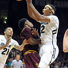 "Xavier Johnson, right, of Colorado, collides with Carrick Felix of Arizona State during the first half of the February 16th, 2013 game in Boulder.<br /> For more photos of the game, go to  <a href=""http://www.dailycamera.com"">http://www.dailycamera.com</a>.<br /> Cliff Grassmick / February 16, 2013"