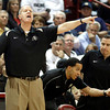 Colorado coach Tad Boyle, left, yells out instructions during the second half of an NCAA college basketball game against Dayton at the Charleston Classic at TD Arena, Thursday Nov. 15, 2012, in Charleston, S.C.  Assistant coach Rodney Billups, center, and Tom Abatemarco, director of player development, work the lines. (AP Photo/Mic Smith)