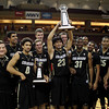 Colorado basketball team celebrates their 81-74 victory over Murray State during an NCAA college basketball game at the Charleston Classic at TD Arena, Sunday, Nov. 18, 2012, in Charleston, S.C. (AP Photo/Alice Keeney)