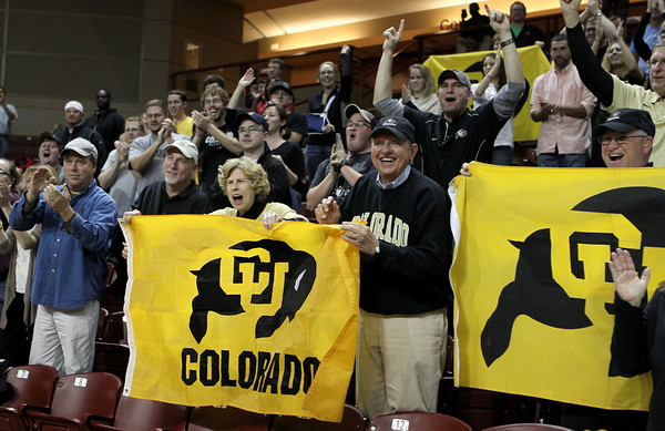 University of Colorado fans cheer after Colorado defeated Murray State during an NCAA college basketball game at the Charleston Classic at the TD Arena, Sunday Nov. 18, 2012, in Charleston, S.C. Colorado won 81-74. (AP Photo/Alice Keeney)