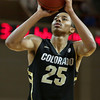 Colorado's Spencer Dinwiddie shoots a free throw during an NCAA college basketball game against Murray State at the Charleston Classic, Sunday Nov. 18, 2012, in Charleston, S.C. Colorado won 81-74. (AP Photo/Alice Keeney)