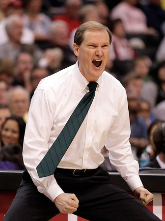 Oregon head coach Dana Altman reacts to a play during the first half of an NCAA college basketball game against Colorado at the Pac-12 conference championship in Los Angeles, Thursday, March 8, 2012. (AP Photo/Jae C. Hong)