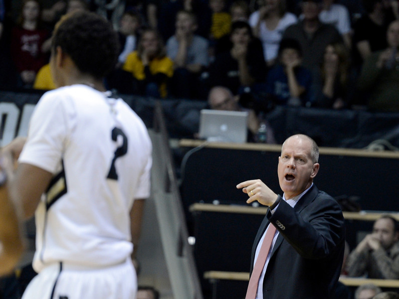"University of Colorado head coach Tad Boyle yells to Xavier Johnson during a game against Northern Arizona on Friday, Dec. 21, at the Coors Event Center on the CU campus in Boulder. For more photos of the game go to  <a href=""http://www.dailycamera.com"">http://www.dailycamera.com</a><br /> Jeremy Papasso/ Camera"