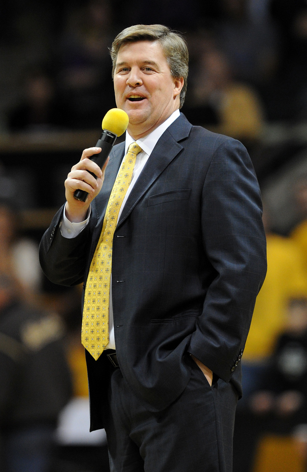 New University of Colorado football coach, Mike MacIntyre, was introduced during halftime of the December 21, 2012  CU Northern Arizona basketball game in Boulder.<br /> Cliff Grassmick / December 21, 2012