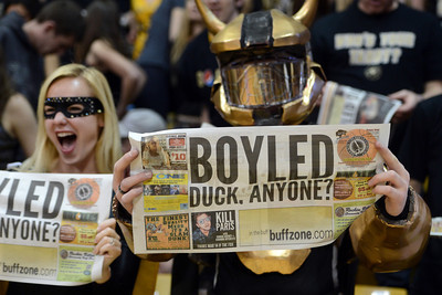 The CU student section has a message for the Ducks during the first half of the March 7, 2013 game in Boulder. For more photos of the game, go to www.dailycamera.com. Cliff Grassmick / March 7, 2013