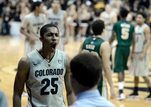 "University of Colorado's Spencer Dinwiddie reacts after defeating Colorado State University 70-61 during a game  on Wednesday, Dec. 5, at the Coors Event Center on the CU campus in Boulder. For more photos of the game go to  <a href=""http://www.dailycamera.com"">http://www.dailycamera.com</a><br /> Jeremy Papasso/ Camera"