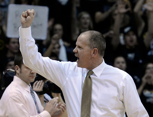 "University of Colorado Head Coach Tad Boyle reacts after defeating CSU 70-61during a game on Wednesday, Dec. 5, at the Coors Event Center on the CU campus in Boulder. For more photos of the game go to  <a href=""http://www.dailycamera.com"">http://www.dailycamera.com</a><br /> Jeremy Papasso/ Camera"
