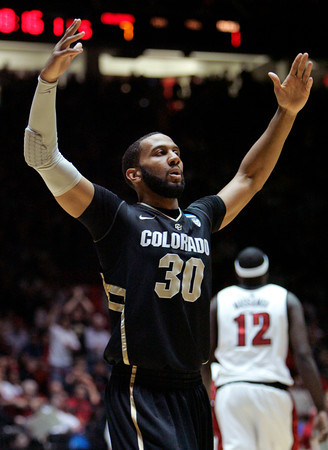 Colorado Carlon Brown shows his frustration during Thursday's game vs. UNLV. (AP Photo/Jake Schoellkopf)