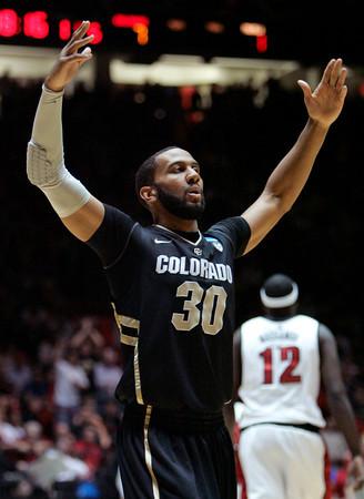 Colorado Carlon Brown shows his frustration during Thursday's game vs. UNLV. (AP Photo/Jake Schoellkopf)