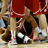 Washington State's #1 Reggie Moore needs help from teammates to get off the floor during their game against the University of Colorado    at the Coors Events Center on the University of Colorado Boulder, Colo. Campus on Saturday January 7, 2012<br /> Photo by Paul Aiken  Jan 7, 2012