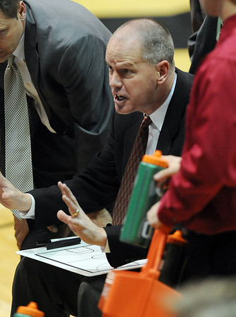 "Colorado head coach, Tad Boyle talks to the team during the second half of the December 19, 2011 game in Boulder.<br /> <br /> For more photos of the game, go to  <a href=""http://www.dailycamera.com"">http://www.dailycamera.com</a>.<br /> December 19, 2011 / Cliff Grassmick"